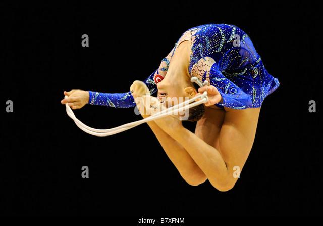 woman doing rhythmic gymnastics - Stock Image