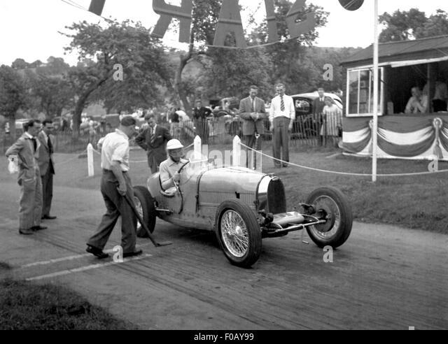 Bugatti racing car at Prescott 1930s - Stock Image