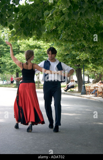 Greek dancers,  Spianada, Kerkyra, Corfu, Greece, - Stock Image