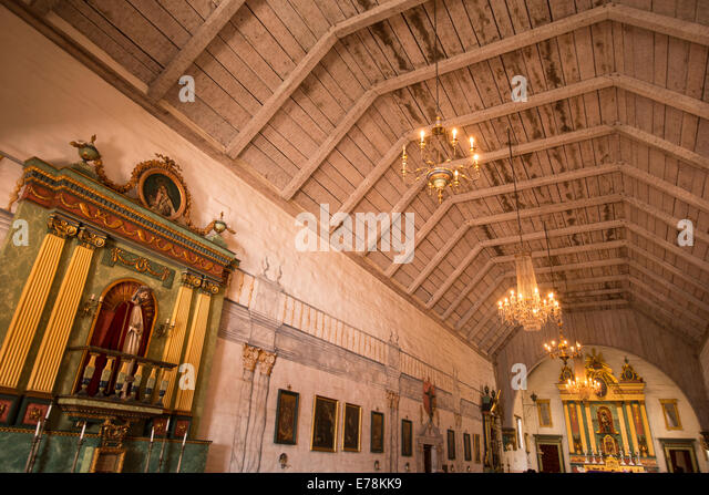 interior of church of historic Mission San Jose; San Jose; northern California; USA - Stock Image