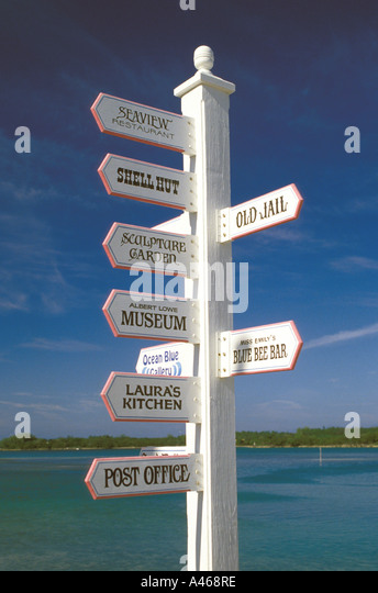 Bahamas Abacos Green Turtle Cay direction sign - Stock Image