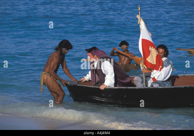 Christopher Columbus discovers New World Columbus landing recreation on San Salvador on Columbus Day 1992, 500th - Stock Image