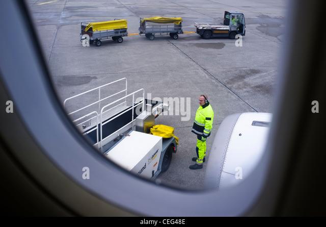 Luggage handling at airport, Athens, Greece, Europe - Stock Image