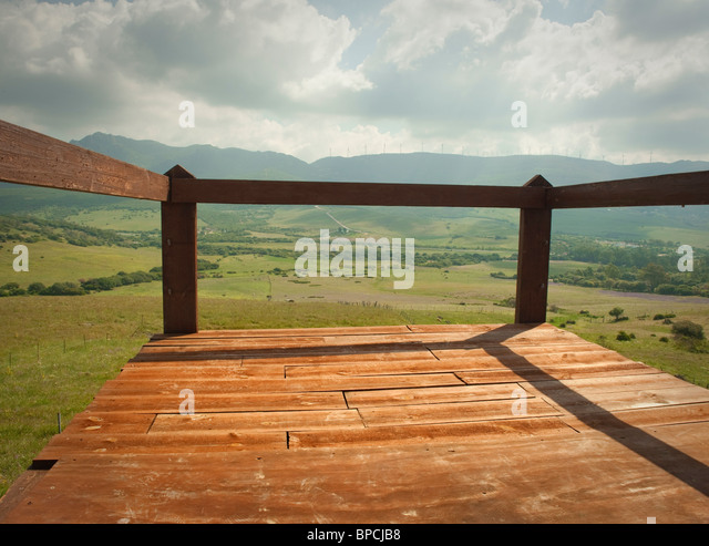 tarifa, cadiz, andalusia, spain; terrace overlooking valley - Stock Image