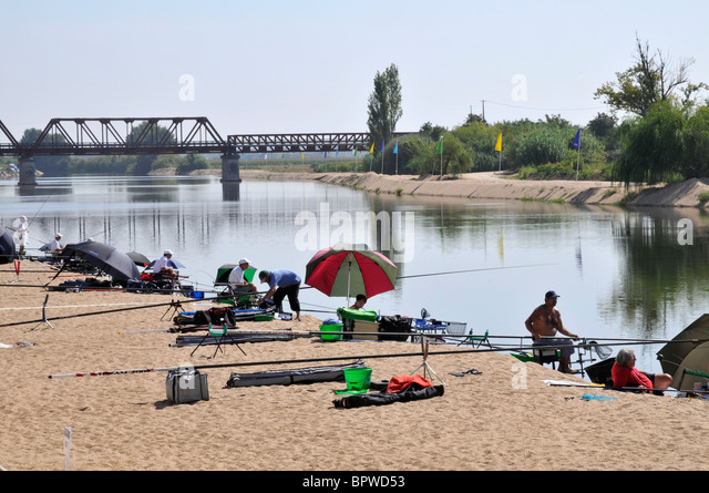 Competitors, 12th European Championships in freshwater angling, Sorraia river, Coruche, Portugal, September 2010 - Stock Image