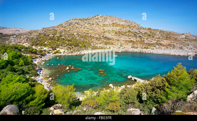 Anthony Quinn Bay, Rhodes Island, Greece - Stock Image