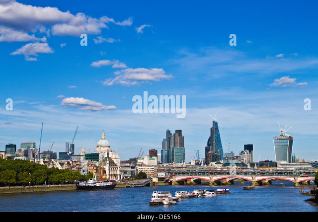 London skyline viewed down the River Thames - Stock Image