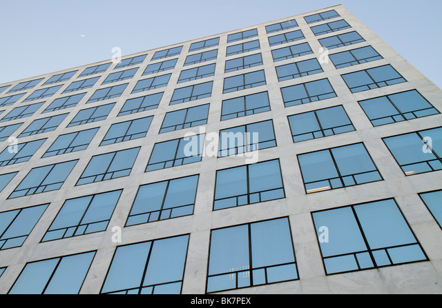 Washington DC Metro Center government offices Orville Wright Building Department of Transportation FAA windows shapes - Stock Image