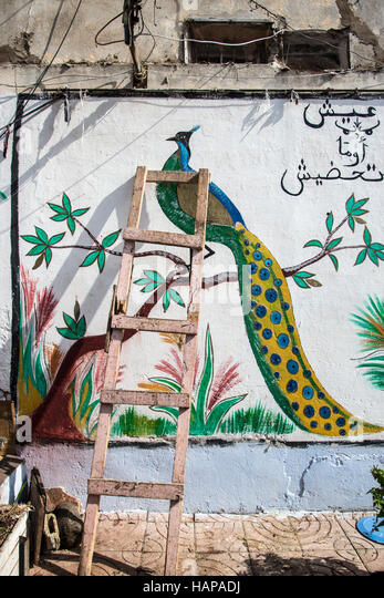 ladder, leaning against a painted mural in Casablanca, Morocco. - Stock Image