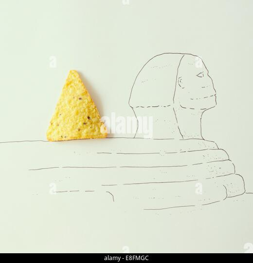 Conceptual shot of the Sphinx and Pyramid, Giza, Egypt - Stock Image