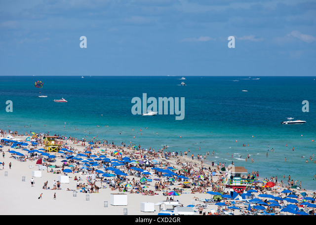Crowded beach, South Beach, Miami Beach, Florida, United States of America, North America - Stock Image