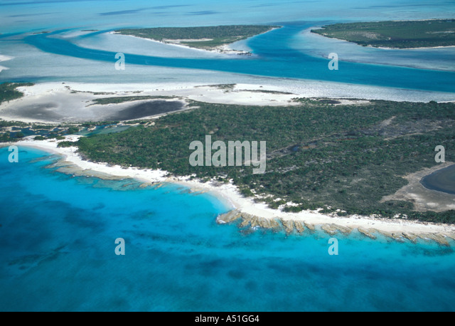 aerial photo Turks and Caicos Islands tci eastern caribbean showing sandy beaches green water and undeveloped islands - Stock Image