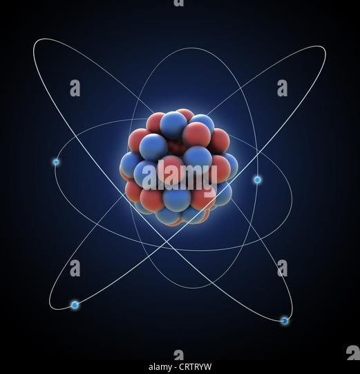 Atom - computer generated illustration - Stock Image