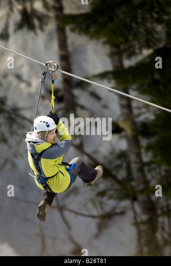 Zip Line Whistler British Columbia Canada 3 - Stock Image