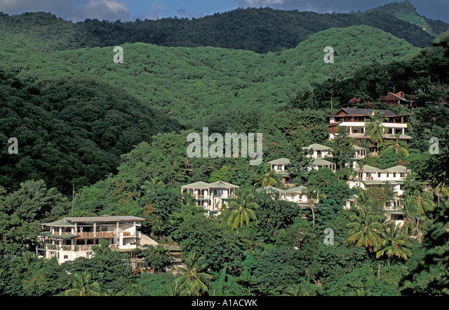 St Lucia Anse Chastanet resort overview - Stock Image