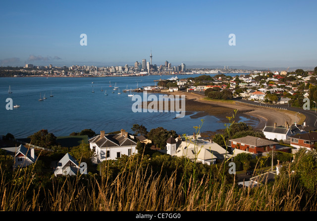 View from North Head to the harbour and city skyline. Devonport, Auckland, North Island, New Zealand - Stock Image