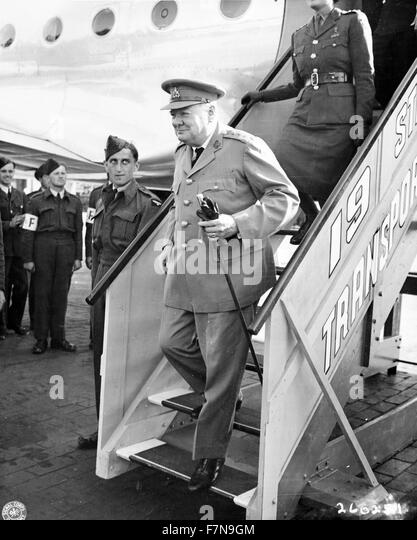 British Prime Minister Winston Churchill; arrives for the Potsdam conference in Germany, 15 Jul 1945 - Stock Image