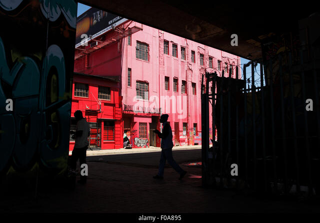 Outside the red Market cold storage  building in the Newtown area of downtown Johannesburg,  South Africa. - Stock Image