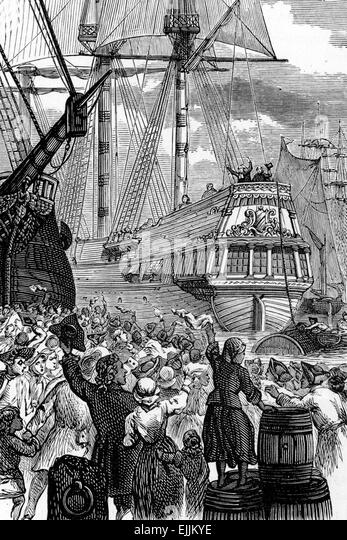 Preacher John Wesley departs from Ireland, engraving from Selections from the Journal of John Wesley, 1891 - Stock Image
