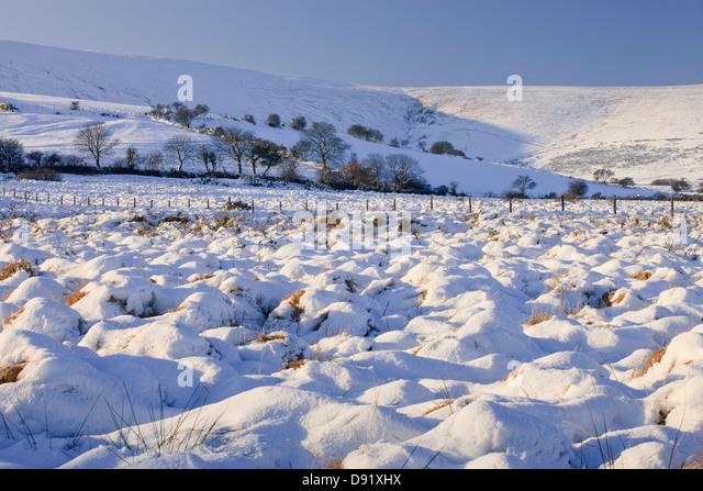 Mynachlogddu Preseli Hills Pembrokeshire West Wales in snow - Stock Image