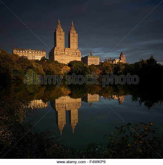 The San Remo Building as seen from Central Park Boating Lake - Stock Image