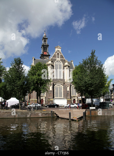 Amsterdam.Wester church.Westerkerk.canals.Homomonument. - Stock Image
