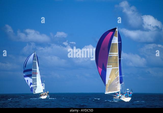 St Maarten Ocean Sailing - Stock Image