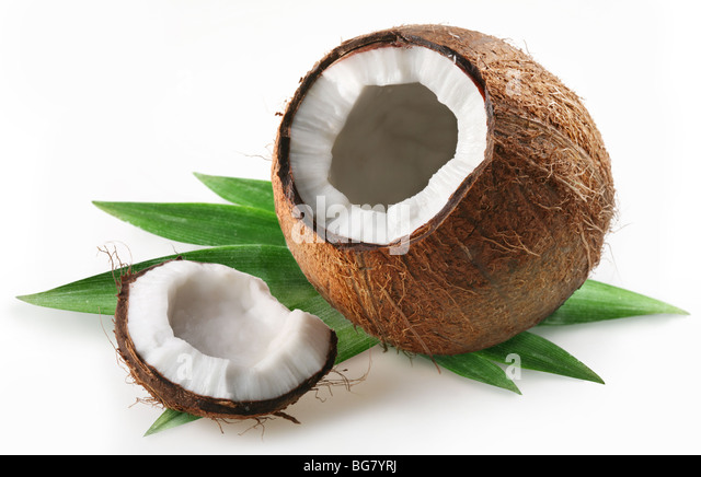coconut on a white background - Stock Image