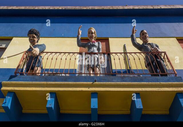 Souvenir Shop with Carlos Gardel, Diego Maradonna, Evita Peron on balcony in La Boca, Buenos Aires, Argentina - Stock Image