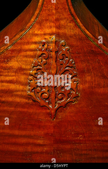 Detail of the rear of  a seven-string bass viola da gamba - Stock Image