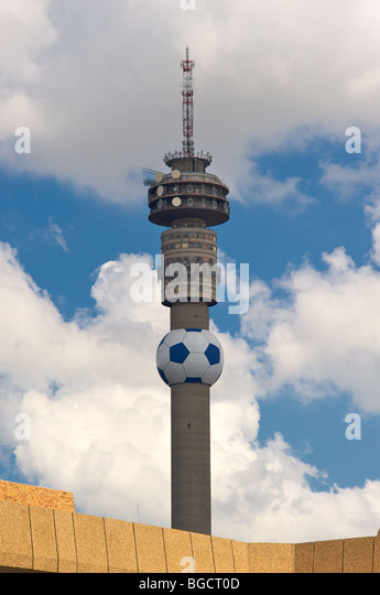 Telkom Tower with world cup soccer football - Stock Image