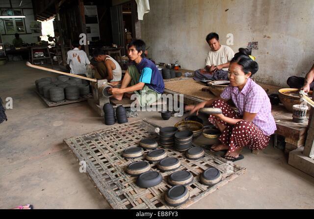 Lacquer craftsman in Bagan, Myanmar, Burma, Asia - Stock Image