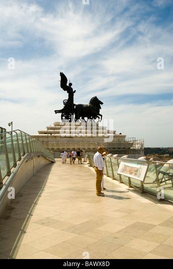 Detail of Vittorio Emanuele II Monument  The goddess Victory riding on a quadriga atop the Vittorio Emanuele II - Stock Image