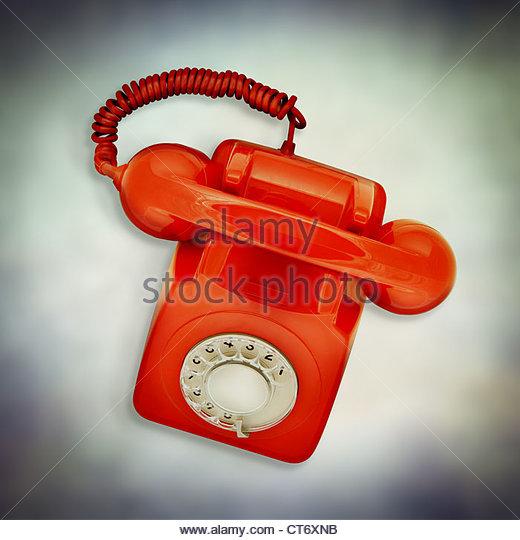 red retro telephone - Stock Image