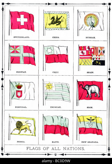 The flags shown in this illustration were current in 1896. They include Swtizerland, China, Burma, Norway, Chile, - Stock-Bilder