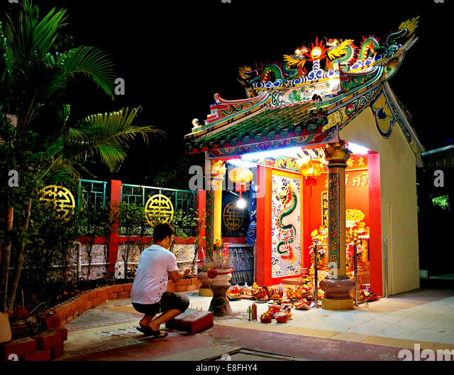 Thailand, Chinese temple and prayer - Stock Image