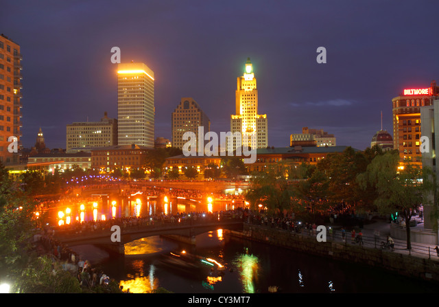Rhode Island Providence Waterplace Park River Walk Providence River city skyline downtown dusk nightlife City Hall - Stock Image