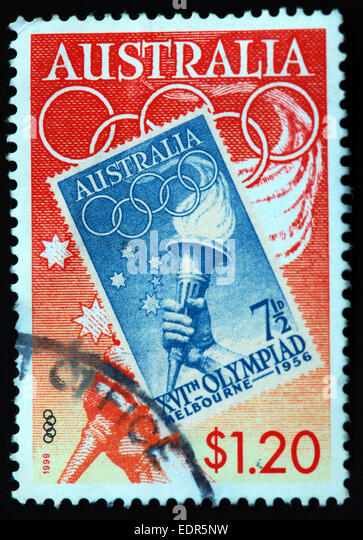 Used and postmarked Australia / Austrailian Stamp 1999 $1.20 Melbourne 1956 XVI Olympiad - Stock Image