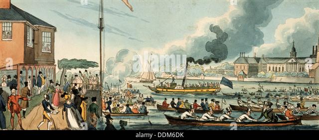 Doggett's Coat and Badge rowing race, London, c1820.  Artist: William Heath - Stock Image