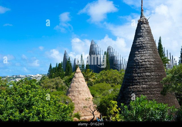 Tjibaou cultural center in Noumea, New Caledonia, Melanesia, South Pacific, Pacific - Stock Image