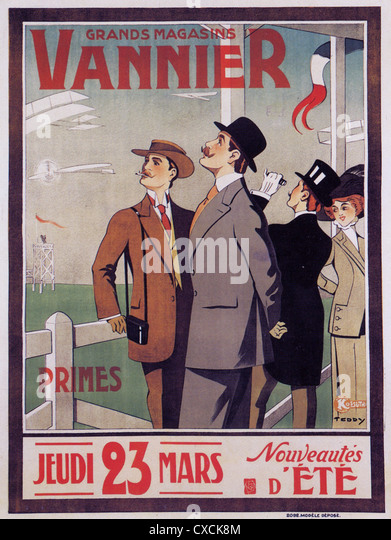FRENCH FASHIONS Advert for one day sale by French department store group Vannier about 1910 - Stock Image