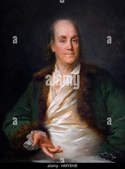 Benjamin Franklin, portrait by Anne-Rosalie Bocquet Filleul, oil on canvas, c.1778/9 - Stock Image