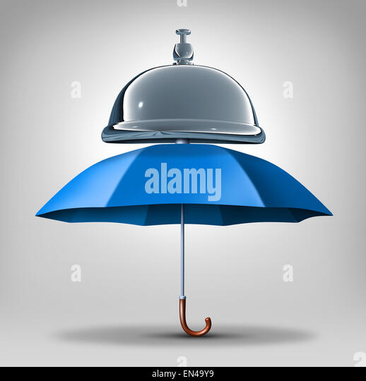 Protection services concept as a blue umbrella with a service bell as a symbol and icon for providing safety and - Stock Image