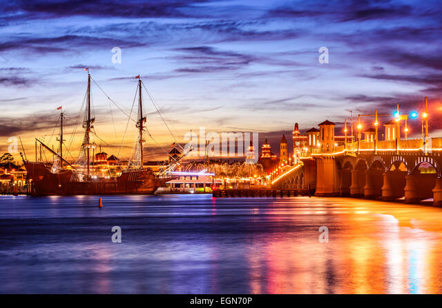 St. Augustine, Florida, USA cityscape at the Bridge of Lions on the Atlantic Intracoastal Waterway. - Stock Image