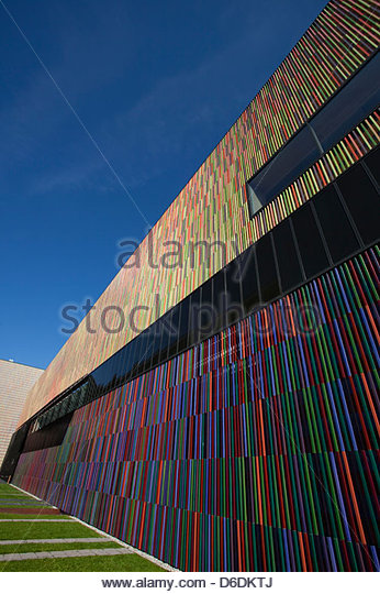 Modern architecture multicolored abstract striped - Stock Image