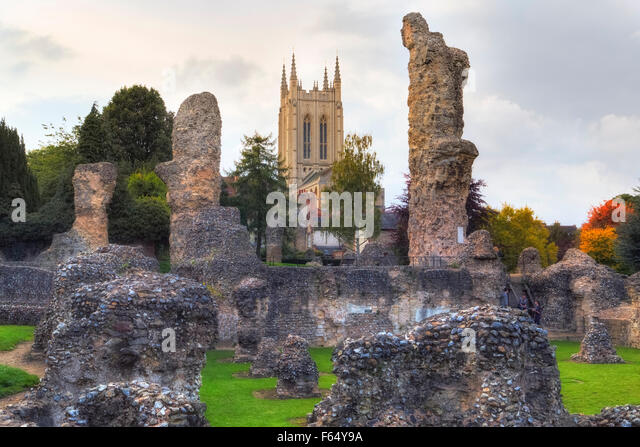 Bury St Edmunds Abbey; Bury St Edmunds, Suffolk, England, United Kingdom - Stock Image