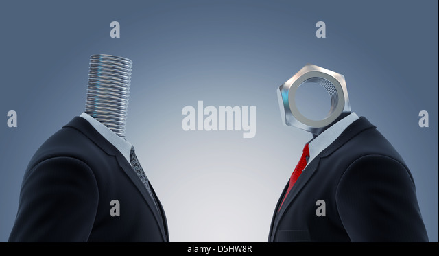 Illustration of two businessmen's head with nut and bolt representing partnership - Stock-Bilder