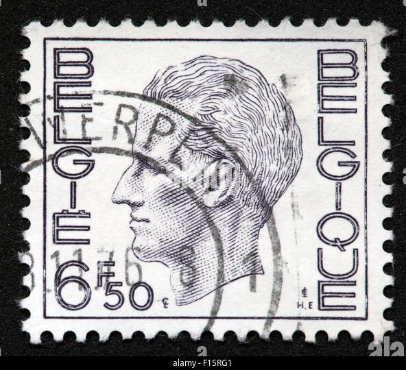 Postes Antwerpen Belgie Belgique 6f50 side head portrait man men stamp white - Stock Image