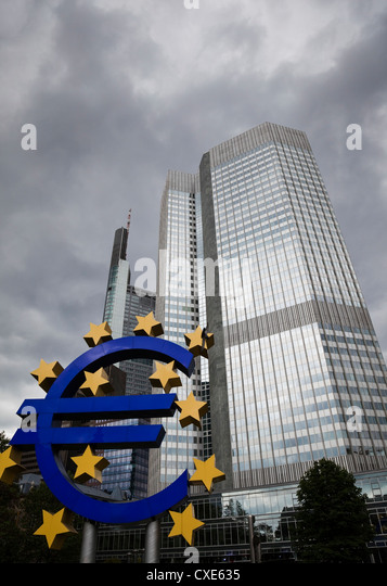 Euro sculpture in front of the Eurotower, the European Central Bank Headquarters, Germany, Europe - Stock Image