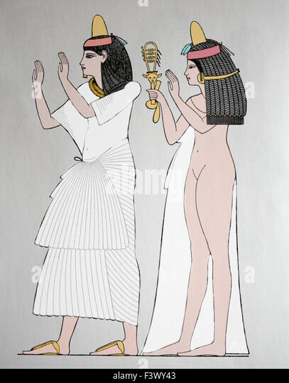 Antiquity. Ancient Egypt. Man and woman, Thebes dynasty. Engraving. 19th century. Color. - Stock-Bilder